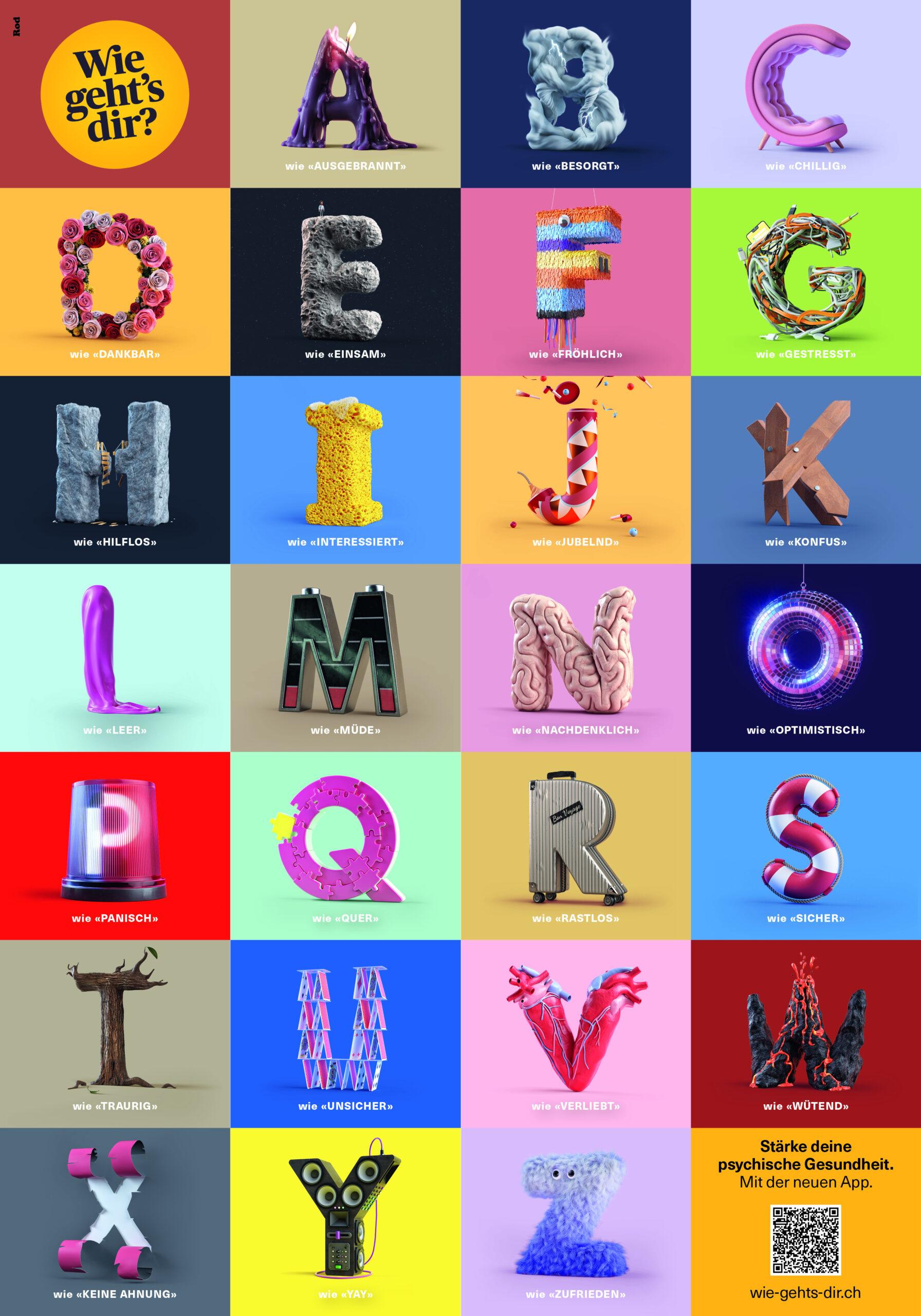 Plakat mit emotionalem Alphabet zur Kampagne