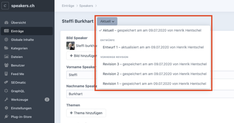 Craft CMS: Versionierung