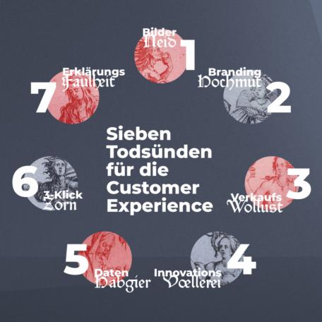 Illustration der 7 Todsünden, angewendet auf die Customer Experience