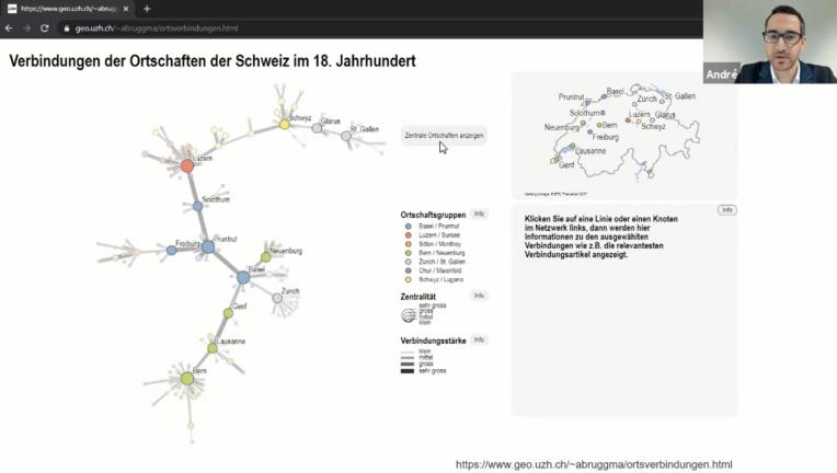 Interaktive, räumliche Informationsvisualisierung von historischen Daten: Präsentationsfolie von André Bruggmann