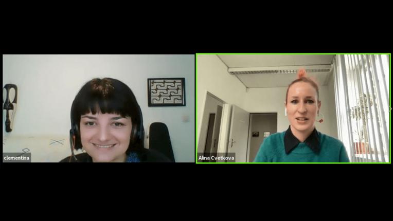 Während der Q&A Session: Clementina Gentile und Alina Cvetkova