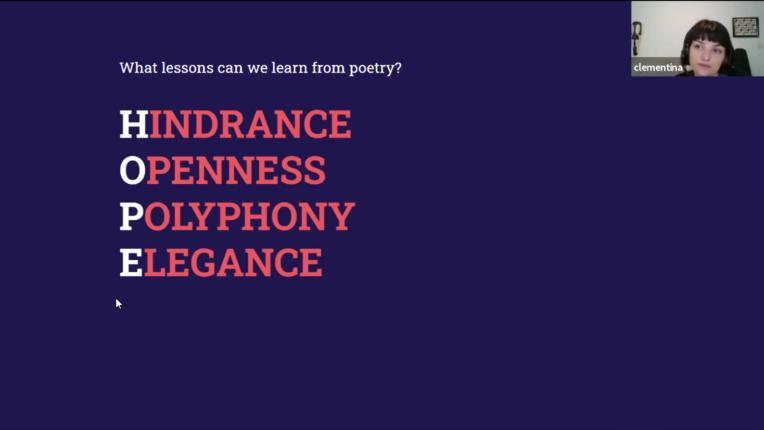 Präsentationsfolie von Clementina Gentile: Anfangsbuchstaben von Hinderance, Openness, Polyphony und Elegance ergeben HOPE
