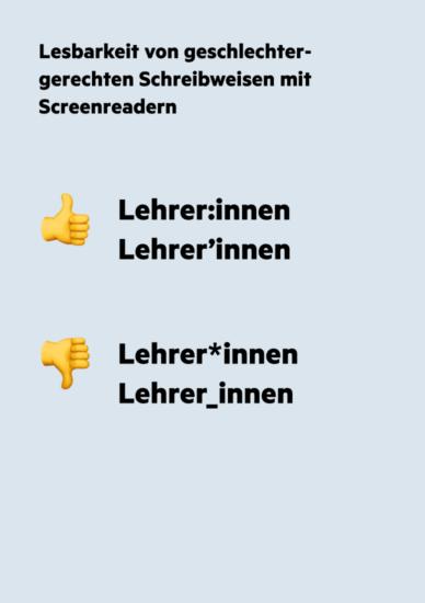 Schreibweisen mit Doppelpunkt und Apostroph geben Screenreader mit einer kurzen Sprechpause wieder.